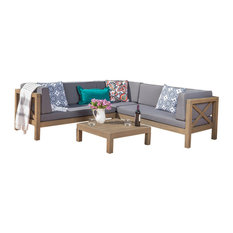 4-Piece Brava Patio Wooden Sectional, Water Resistant Cushions, Set, Dark Gray