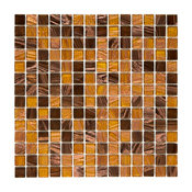 "12""x12"" Cuivre Translucent Glass Mosaic Tiles, Set of 10, Amber"