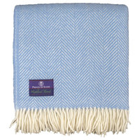 Highland Tweed Herringbone Pure New Wool Throw ~ Sky Blue  ~