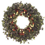 """VanCortlandt Farms - Hacienda Wreath, 22"""" - 100% air-dried Lemon Mint & Globe Amaranth wreath; 100% grown on our North Western farm! Consider using the 15"""" size as a centerpiece--you may choose to add a candle (LED recommended), lantern or a figurine of your choice to the center to create your own original tabletop design. Wonderful Farmhouse/Rustic style accent.  Indoor use advised as a product will not withstand water, wind or direct sunlight. Can be used outdoors in a sheltered, dark location."""