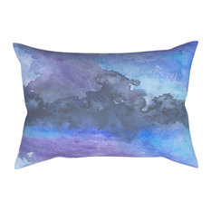 """Decorative Pillow Cover, Blue Abstract Art, 18""""x25"""" With Insert"""