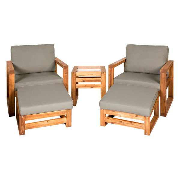 Create a modern styled seating spot for any outdoor space with our Hudson Outdoor Patio Chat Set. This set is made of acacia wood and features UV/Weather resistant cushions for not only functionality, but also comfort. This patio set includes an outdoor loveseat, chair, angled ottoman, and coffee table. The coffee table has a clear tempered glass top, to place your drinks, snacks, and anything you want while enjoying your time outside.Features:Acacia WoodUV/Weather resistant cushionsClear tempered glass on coffee table Modern, contemporary Exposure to extreme temperatures not recommendedShips ready-to-assemble with step by step instructionsTable dimensions: 20\