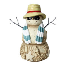 "Young's - Coastal Beach Cool Shades Sand Snowman 7"" Tabletop Winter Figurine - Holiday Accents and Figurines"