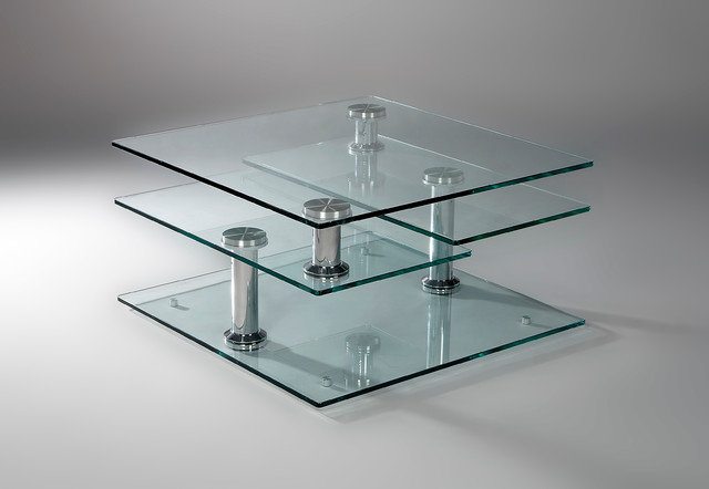 Tempered Gl 4 Tier Swivel Coffee Table