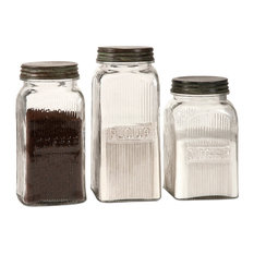 IMAX Worldwide Home - Dyer Glass Canisters, 3-Piece Set - Kitchen Canisters and Jars
