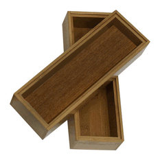 Stackable Bamboo Drawer Organizers, 3x9, Set of 2