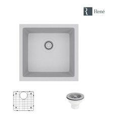 R3-1003-PWT Single Bowl Composite Granite Sink, Pewter, Strainer