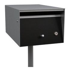 Letterbox, Front Open, Zincalume, Orange, Lock, No Flag, No Post