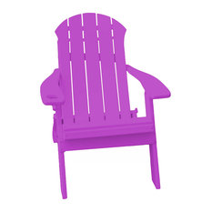 Seaside Poly Folding Adirondack Chair With Cupholder, Purple
