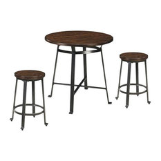 3 Piece Bar Set with Bar Table and (Set of 2) Bar Stools in Rustic Brown