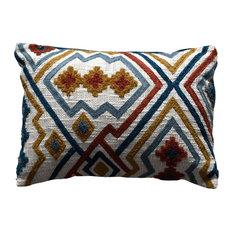 Karim Embroidered Cushion, Blue and Yam, 35x50 cm