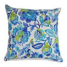 Blue Floral Demask Indoor/Outdoor Pillow