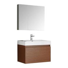 "Mezzo 30"" Teak Wall Hung Modern Bathroom Vanity, Faucet FFT3071CH"