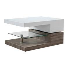 GDFStudio   Emerson Mod Swivel Coffee Table With Glass   Coffee Tables