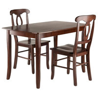 3-Piece Dining Table With Key Hole Back Chairs Set