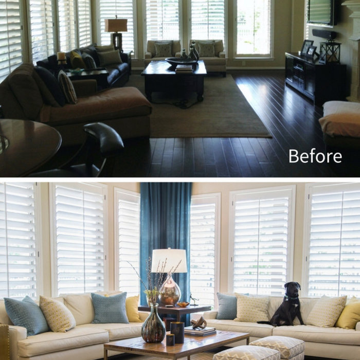 before and after- living room remodeling in winnetka