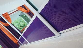 Mirror Sliding Doors with Purple air flow vents
