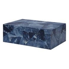 Kenmore Decorative Box With Blue Bone Triangular Pattern, Blue