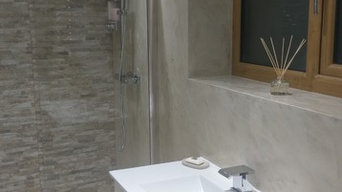 Ensuite finished in 'Travertino' microcement