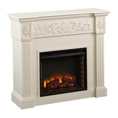 Calvert Carved Electric Fireplace, Ivory