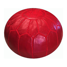 Moroccan Pouf Ottoman Leather, Red Ruby, Un-Stuffed
