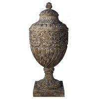 Urn Distressed Antique Natural Solid Wood