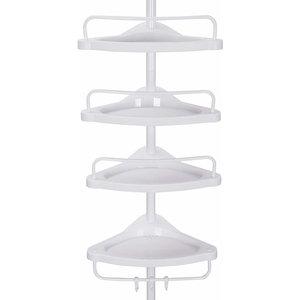 Adjustable Bathroom Corner Shelf in Metal Tubes and PP Plastic With 4-Tier