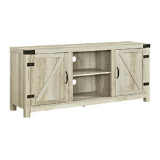 "58"" Farmhouse TV Stand With Barn Door Side Doors, White Oak"