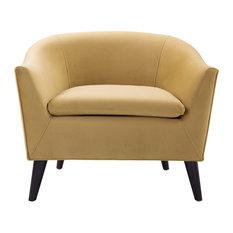 Lia Mid-Century Barrel Accent Chair Gold