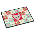 "Caroline's Treasures - Burmilla Cat Love Indoor/Outdoor Mat 24x36 - ""Caroline's Treasures Burmilla Cat Love Indoor or Outdoor Mat 24x36 doormats, Multicolor""INDOOR / OUTDOOR FLOOR MAT 24 inch by 36 inch Action Back Felt Floor Mat / Carpet / Rug that is Made and Printed in the USA. A Black binding tape is sewn around the mat for durability and to nicely frame the artwork. The mat has been permenantly dyed for moderate traffic and can be placed inside or out (only under a covered space). Durable and fade resistant. The back of the mat is rubber backed to keep the mat from slipping on a smooth floor. Wash with soap & water."