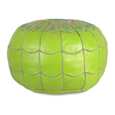 Moroccan Leather Stuffed Pouf, Lime Green