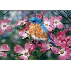 Tile Mural, Bluebird / Pink Dogwood, 43.2x32.4 cm