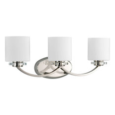 Nisse Collection 3-Light Polished Nickel Bath Light With K9 Glass Accents