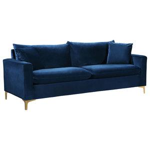 Naomi Velvet Sofa, Gold and Chrome Leg Set, Navy