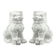 Guardian Lion Bookends, White, 2-Piece Set