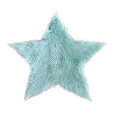 Machine Washable Faux Sheepskin Mint Star Area Rug, 3'x3'