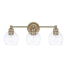 3 Light Vanity, Aged Brass