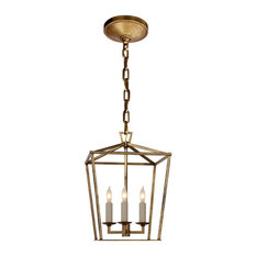 E.F. Chapman Darlana 3-Light Foyer Pendant, Gilded Iron
