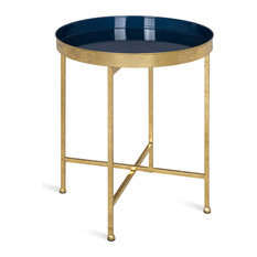 Celia Round Metal Side Table, Gold Navy Blue