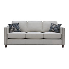Asita Home   Tufted Fabric Sofa With 2 Accent Pillows, Nailhead Trim   Sofas
