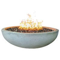 "48"" Concrete Fire Pit Bowl, Natural, Crushed Black Lava Filling, Natural Gas"