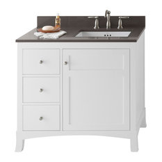 "Ronbow Hampton Solid Wood 36"" Vanity Cabinet Base, White, Right Door"