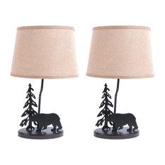 Metal Burlap Shade Bear Lamp, Set of 2