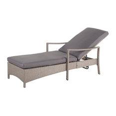 Vasto Adjustable Wicker Sunbed, Beige and Grey