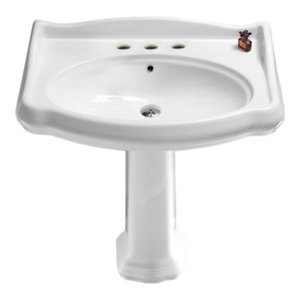 Pedestal Sink Darbyshire White China With Centerset Faucet