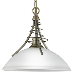 Linea Twist Pendant With Acid Glass, Antique Brass