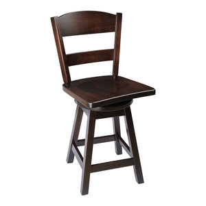 """Rustic Swivel Bar Stool, Maple Wood With Back, Onyx, Counter Height, 24"""""""