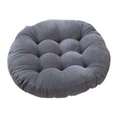 21-Inch Round Floor Pillow Tufted Support Padded Boosted Cushion, Gray