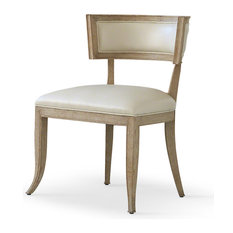 Minnelli Hollywood Regency Ivory Leather Dining Chair   Dining Chairs