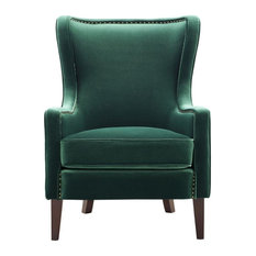 Steve Silver Rosco Modern Wingback Green Velvet Accent Chair